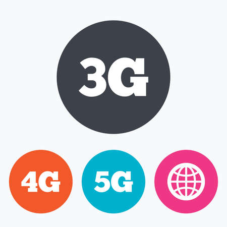 3g: Mobile telecommunications icons. 3G, 4G and 5G technology symbols. World globe sign. Circle flat buttons with icon.