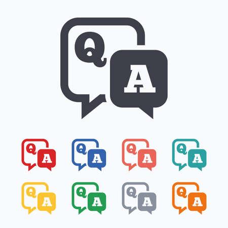 質問の答えの記号のアイコン。Q&A シンボル。白の背景に色付きのフラット アイコン。  イラスト・ベクター素材