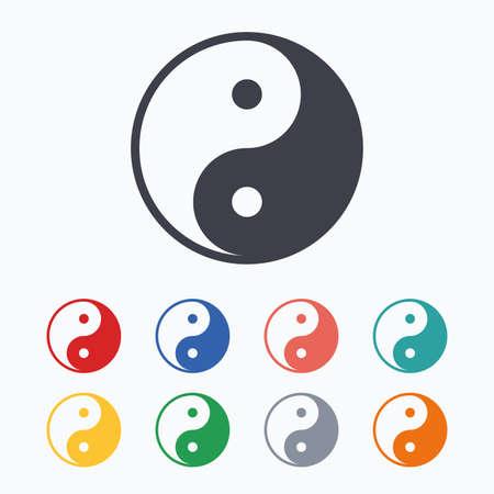 karma graphics: Ying yang sign icon. Harmony and balance symbol. Colored flat icons on white background.