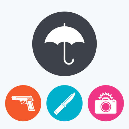 edged: Gun weapon icon.Knife, umbrella and photo camera with flash signs. Edged hunting equipment. Prohibition objects. Circle flat buttons with icon. Illustration