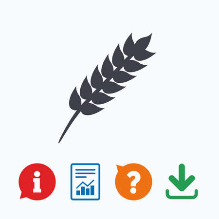 Gluten free sign icon. No gluten symbol. Information think bubble, question mark, download and report. Illustration