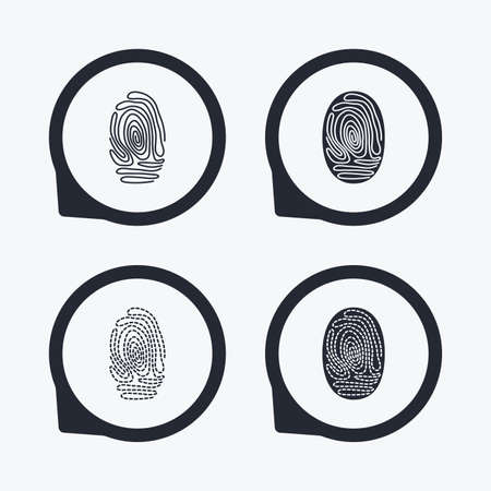 biometric: Fingerprint icons. Identification or authentication symbols. Biometric human dabs signs. Flat icon pointers.