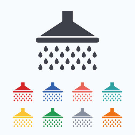 washstand: Shower sign icon. Douche with water drops symbol. Colored flat icons on white background.