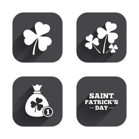 feast of saint patrick: Saint Patrick day icons. Money bag with clover and coin sign. Trefoil shamrock clover. Symbol of good luck. Square flat buttons with long shadow.