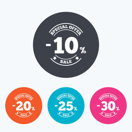 ten best: Sale discount icons. Special offer stamp price signs. 10, 20, 25 and 30 percent off reduction symbols. Circle flat buttons with icon.