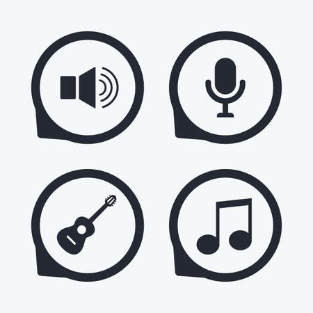sound speaker: Musical elements icons. Microphone and Sound speaker symbols. Music note and acoustic guitar signs. Flat icon pointers. Illustration