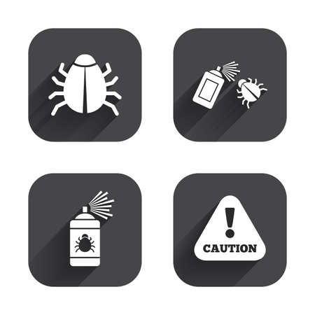 insanitary: Bug disinfection icons. Caution attention symbol. Insect fumigation spray sign. Square flat buttons with long shadow.