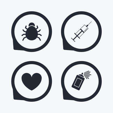spray can: Bug and vaccine syringe injection icons. Heart and spray can sign symbols. Flat icon pointers.