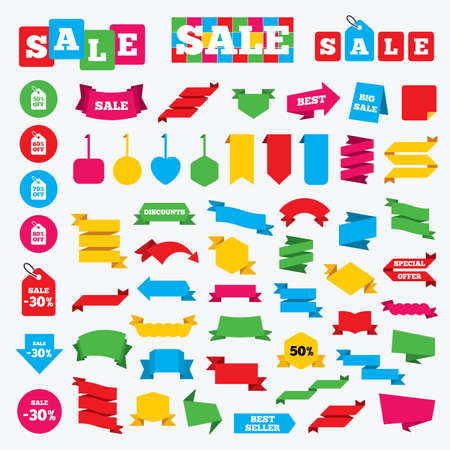 60 70: Web stickers, banners and labels. Sale price tag icons. Discount special offer symbols. 50%, 60%, 70% and 80% percent off signs. Price tags set. Illustration