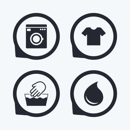 washhouse: Wash machine icon. Hand wash. T-shirt clothes symbol. Laundry washhouse and water drop signs. Not machine washable. Flat icon pointers.