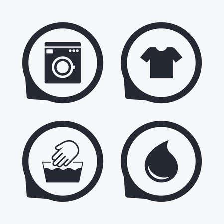 Wash-Maschine-Symbol. Handwäsche. T-Shirt Kleidung Symbol. Wäschewaschhaus und Wassertropfen Zeichen. Nicht maschinenwaschbar. Flache Symbol Zeiger.
