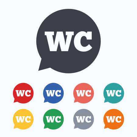 lavatory: WC Toilet sign icon. Restroom or lavatory speech bubble symbol. Colored flat icons on white background.
