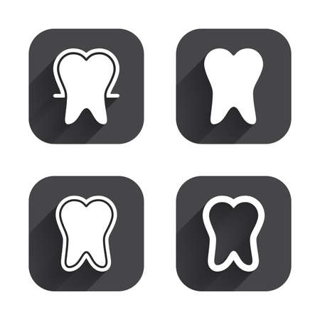 enamel: Tooth enamel protection icons. Dental toothpaste care signs. Healthy teeth sign. Square flat buttons with long shadow. Illustration