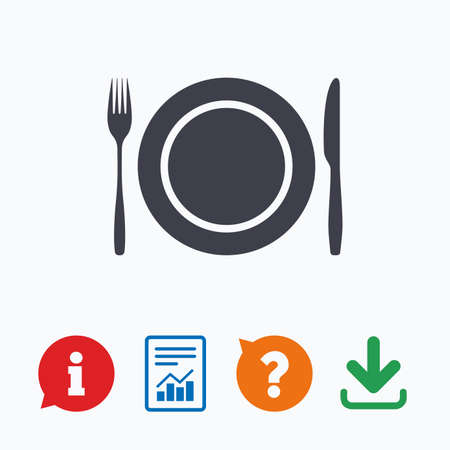 etiquette: Plate dish with fork and knife. Eat sign icon. Cutlery etiquette rules symbol. Information think bubble, question mark, download and report. Illustration