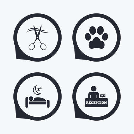 dog allowed: Hotel services icons. With pets allowed in room signs. Hairdresser or barbershop symbol. Reception registration table. Quiet sleep. Flat icon pointers.