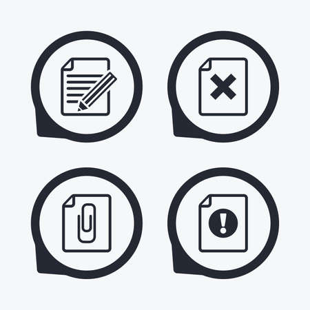 attach: File attention icons. Document delete and pencil edit symbols. Paper clip attach sign. Flat icon pointers.