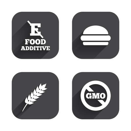 stabilizers: Food additive icon. Hamburger fast food sign. Gluten free and No GMO symbols. Without E acid stabilizers. Square flat buttons with long shadow.
