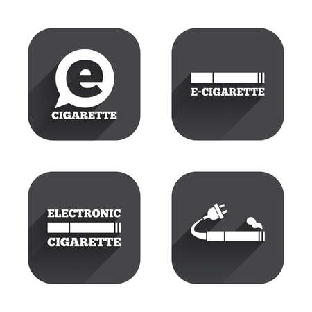 e cig: E-Cigarette with plug icons. Electronic smoking symbols. Speech bubble sign. Square flat buttons with long shadow. Illustration