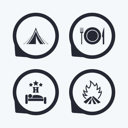 breakfast in bed: Food, sleep, camping tent and fire icons. Knife, fork and dish. Hotel or bed and breakfast. Road signs. Flat icon pointers.