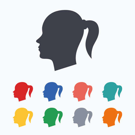 pigtail: Head sign icon. Female woman human head with pigtail symbol. Colored flat icons on white background.