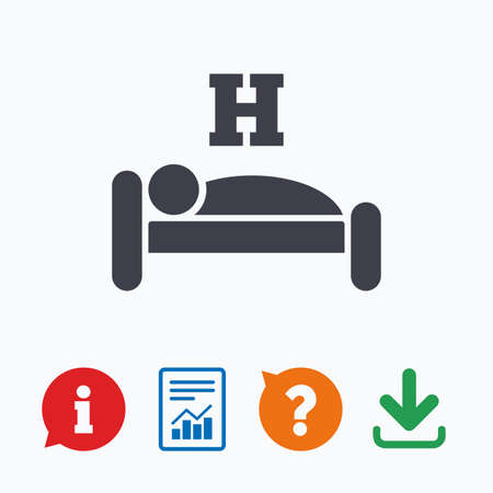 sleeper: Hotel apartment sign icon. Travel rest place. Sleeper symbol. Information think bubble, question mark, download and report.