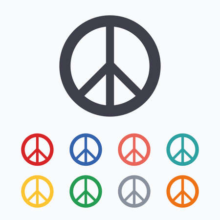 pacificist: Peace sign icon. Hope symbol. Antiwar sign. Colored flat icons on white background. Illustration