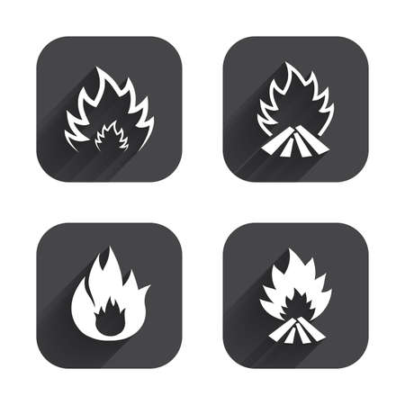 inflammable: Fire flame icons. Heat symbols. Inflammable signs. Square flat buttons with long shadow. Illustration