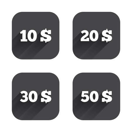 20 30: Money in Dollars icons. 10, 20, 30 and 50 USD symbols. Money signs Square flat buttons with long shadow. Illustration