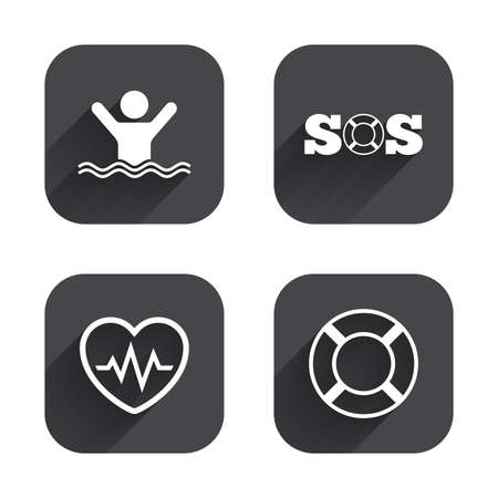 drowns: SOS lifebuoy icon. Heartbeat cardiogram symbol. Swimming sign. Man drowns. Square flat buttons with long shadow.
