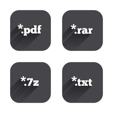 txt: Document icons. File extensions symbols. PDF, RAR, 7z and TXT signs. Square flat buttons with long shadow. Illustration