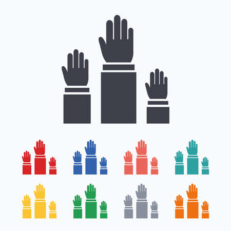 Election or voting sign icon. Hands raised up symbol. People referendum. Colored flat icons on white background. Illustration