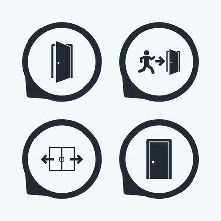 arrow emergency exit: Automatic door icon. Emergency exit with human figure and arrow symbols. Fire exit signs. Flat icon pointers. Illustration