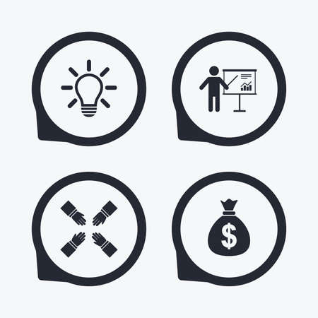 standing lamp: Presentation billboard icon. Dollar cash money and lamp idea signs. Man standing with pointer. Teamwork symbol. Flat icon pointers.