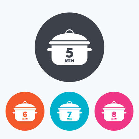 7 8: Cooking pan icons. Boil 5, 6, 7 and 8 minutes signs. Stew food symbol. Circle flat buttons with icon. Illustration
