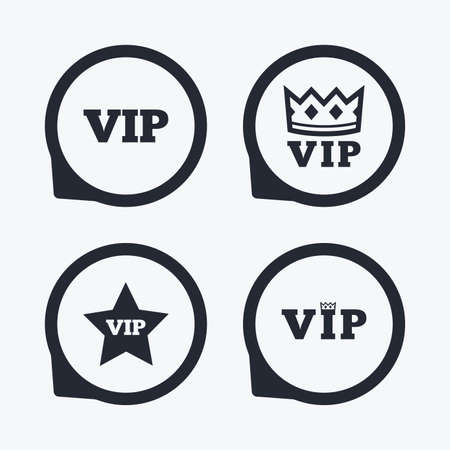 very important person: VIP icons. Very important person symbols. King crown and star signs. Flat icon pointers.