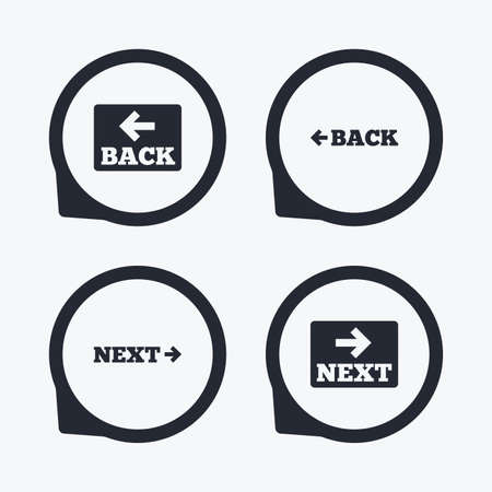 website buttons: Back and next navigation signs. Arrow direction icons. Flat icon pointers.