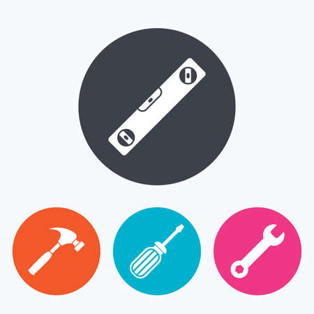 screwdriver: Screwdriver and wrench key tool icons. Bubble level and hammer sign symbols. Circle flat buttons with icon. Illustration