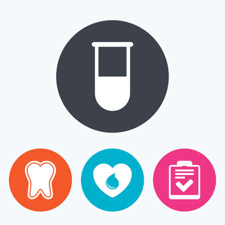 test tube: Medical icons. Tooth, test tube, blood donation and checklist signs. Laboratory equipment symbol. Dental care. Circle flat buttons with icon.