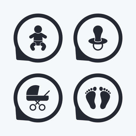 infants: Baby infants icons. Toddler boy with diapers symbol. Buggy and dummy signs. Child pacifier and pram stroller. Child footprint step sign. Flat icon pointers. Illustration