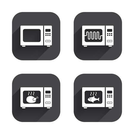 microwave stove: Microwave oven icons. Cook in electric stove symbols. Grill chicken and fish signs. Square flat buttons with long shadow.