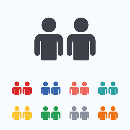 two friends talking: Friends sign icon. Social media symbol. Colored flat icons on white background.