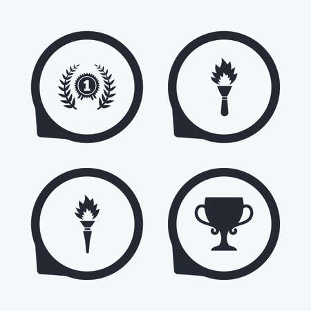 fire place: First place award cup icons. Laurel wreath sign. Torch fire flame symbol. Prize for winner. Flat icon pointers. Illustration
