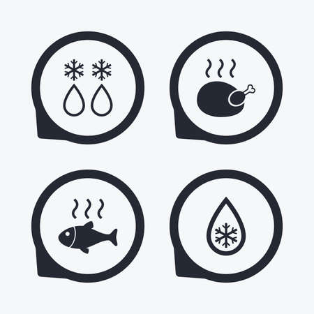 whole chicken: Defrosting drop and snowflake icons. Hot fish and chicken signs. From ice to water symbol. Flat icon pointers. Illustration