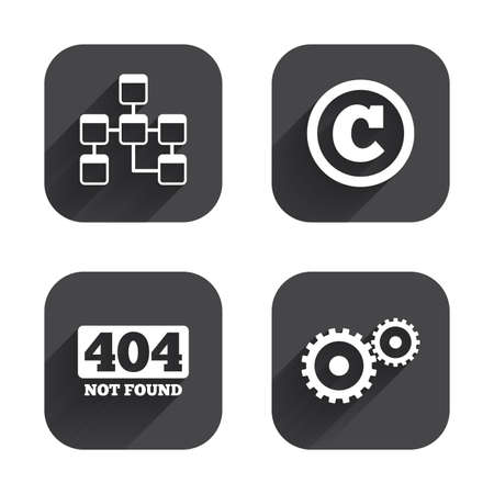 copyrights: Website database icon. Copyrights and gear signs. 404 page not found symbol. Under construction. Square flat buttons with long shadow.