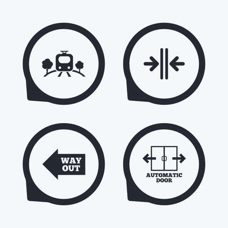 way out: Train railway icon. Overground transport. Automatic door symbol. Way out arrow sign. Flat icon pointers.