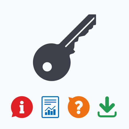 quality questions: Key sign icon. Unlock tool symbol. Information think bubble, question mark, download and report.