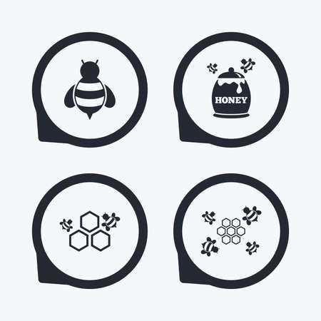 fructose: Honey icon. Honeycomb cells with bees symbol. Sweet natural food signs. Flat icon pointers.