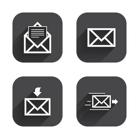 outbox: Mail envelope icons. Message document delivery symbol. Post office letter signs. Inbox and outbox message icons. Square flat buttons with long shadow.