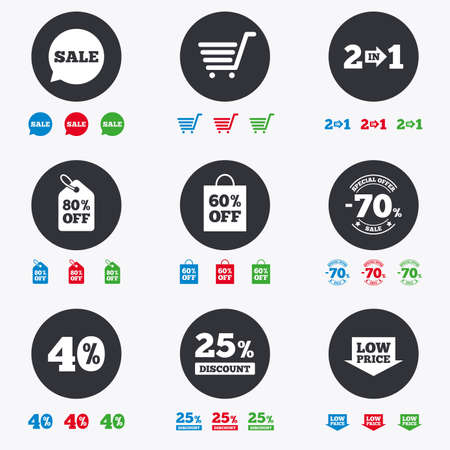 low price: Sale discounts icon. Shopping cart, coupon and low price signs. 25, 40 and 60 percent off. Special offer symbols. Flat circle buttons with icons.