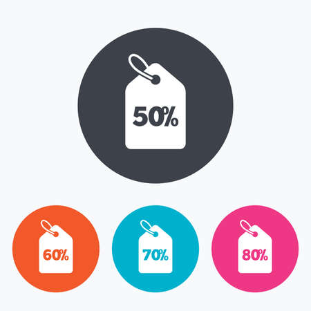 60 70: Sale price tag icons. Discount special offer symbols. 50%, 60%, 70% and 80% percent discount signs. Circle flat buttons with icon. Illustration